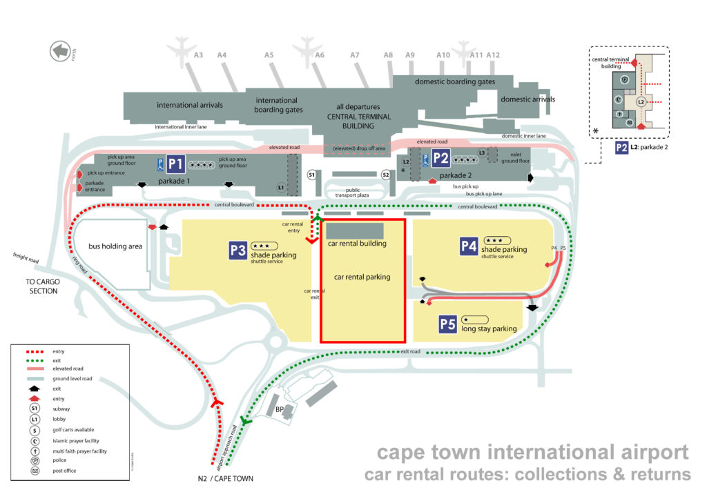 cape town airport car rental route