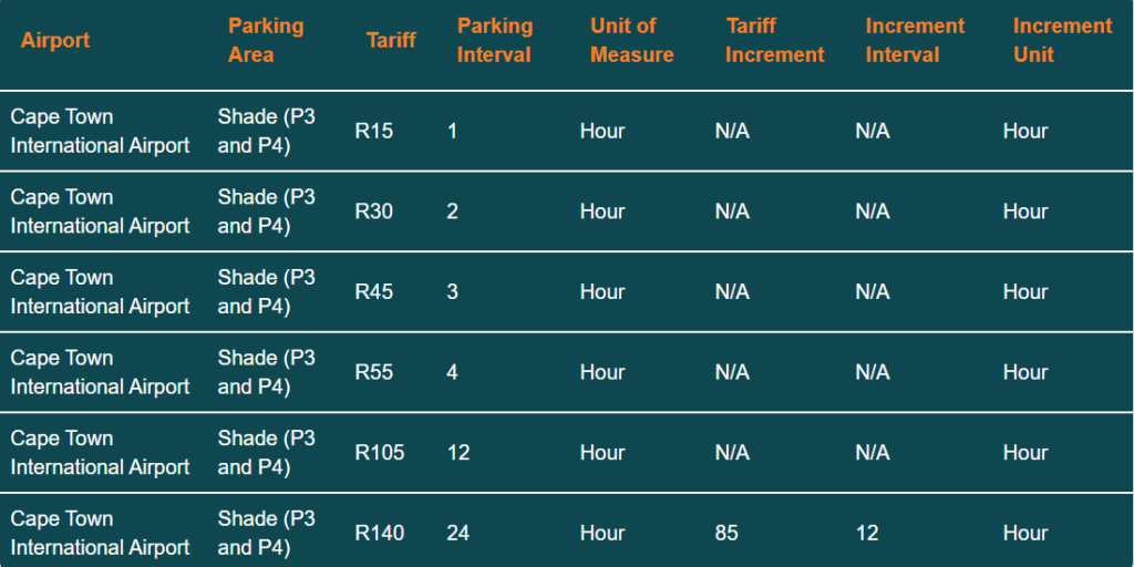 cape town airport parking tariff p3 p4