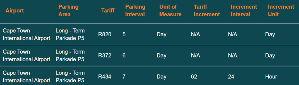cape town airport parking tariff p5