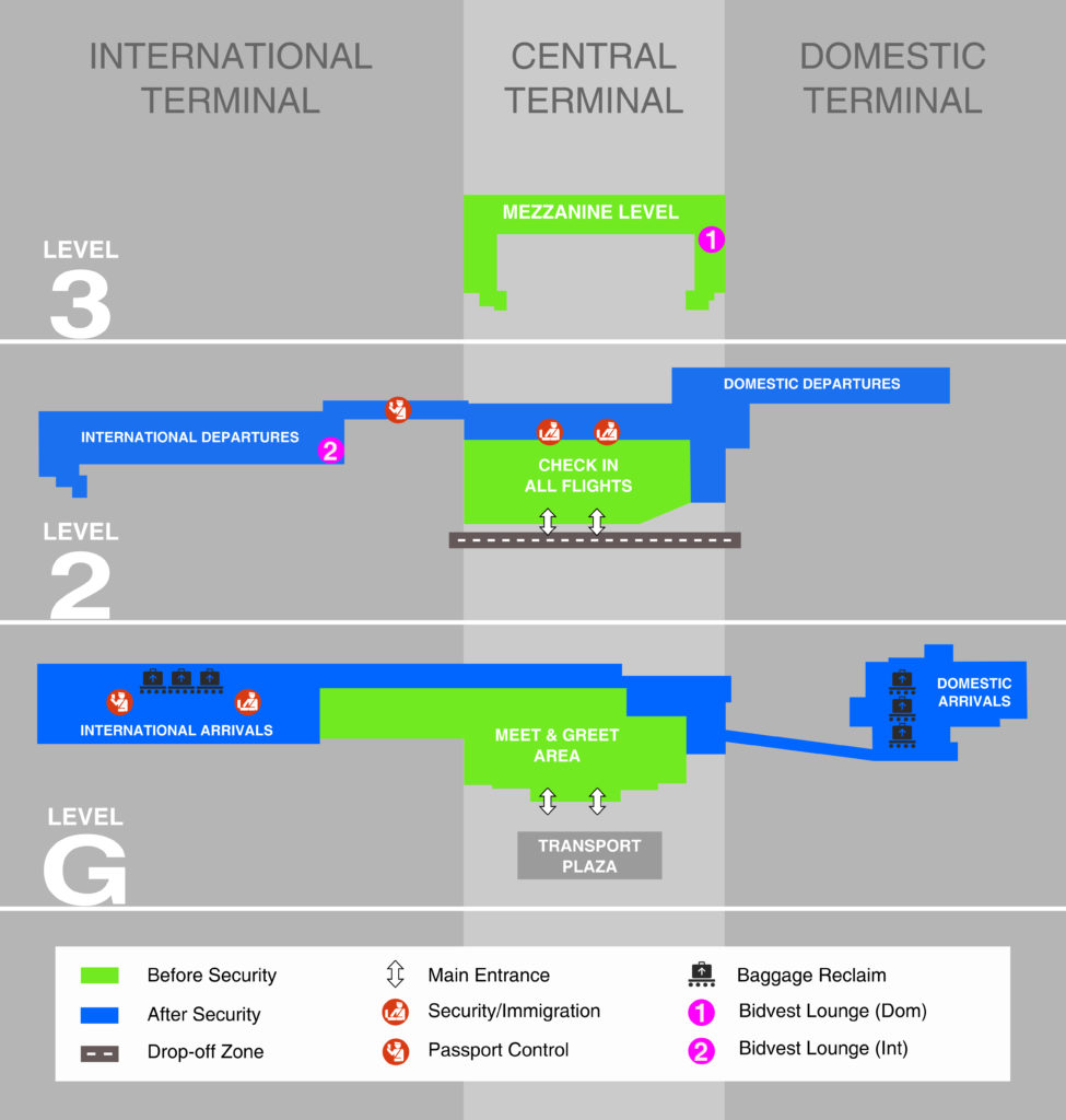 cape town airport terminal maps